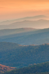 Late Evening Light over Length of Blue Ridge Mountain Range in Autumn, View from Skyline Drive, Shenandoah National Park, Rappahannock County, VA