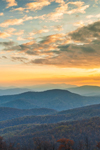 Sunset over Length of Blue Ridge Mountain Range in Autumn, View from Skyline Drive, Shenandoah National Park, Rappahannock County, VA