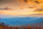 Sunset over Length of Blue Ridge Mountain Range in Autumn, View from Skyline Drive, Shenandoah National Park, Rappahannock County, VA