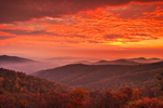 Sunrise over Blue Ridge Mountains in Autumn, View from Skyline Drive, Shenandoah National Park, Rappahannock County, VA