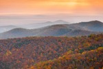 Blue Ridge Mountain Layers at Sunrise in Autumn, View from Skyline Drive, Shenandoah National Park, Rappahannock County, VA