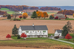Big White Barn and Farmland in Autumn in Pennsylvania Dutch Country, near Lynnville, Lynn Township, Lehigh County, PA
