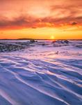 Sunrise over Windswept Snow-covered Dunes at Parker River National Wildlife Refuge, Plum Island, MA