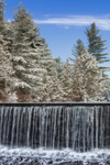 Waterfalls over Dam at Mathews Pond after Snowfall, Union, CT