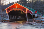 Honeymoon Bridge with Holiday Lights over Ellis River in Evening, White Mountains Region, Jackson, NH