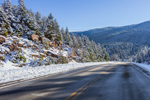 Kancamagus Highway at Kancamagus Pass in Winter, White Mountain National Forest, Livermore, NH