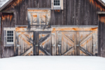 Old Weathered Doors on Wooden Barn in Winter, White Mountains Region, Bartlett, NH