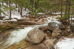 Boulders and Rapids on Swift River at Sabbaday Falls in Winter, White Mountain National Forest, Waterville Valley, NH
