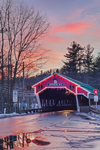 Honeymoon Bridge with Holiday Lights over Ellis River at Sunset, White Mountains Region, Jackson, NH