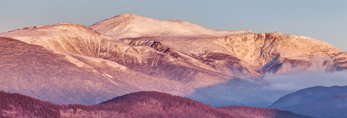 Early Morning Light Shines on Mount Washington and White Mountains, White Mountain National Forest, View from Jackson, NH