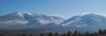 Cannon Mountain and Mount Lafayette in Franconia Range in Winter, White Mountain National Forest, View from Sugar Hill, NH