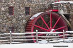Close Up of Water Wheel at Old Grist Mill in Winter at Historic Longfellow's Wayside Inn, Sudbury, MA