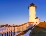 Early Morning Sunlight Shines on Nobska Point Lighthouse in Winter, Cape Cod, Woods Hole, Falmouth, MA