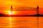 Sunset over Railroad Bridge on Cape Cod Canal, Cape Cod, Bourne, MA