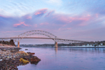 Sunset over Bourne Bridge on Cape Cod Canal, Cape Cod, Bourne, MA