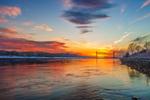 Sunset on Cape Cod Canal with Railroad Bridge in Distance, Cape Cod, Bourne, MA