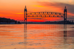 Sunset over Railroad Bridge on Cape Cod Canal, Cape Cod, Bourne, MA
