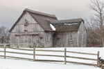 Old Gray Barn with Thatched Roof and Split-rail Fence on Mill Farm, Cape Cod, Yarmouth, MA