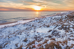 Sunset over Snow-covered Dunes and Beach at South Beach after Snowstorm, Martha's Vineyard, Edgartown, MA