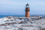 Gay Head Lighthouse and Gay Head Cliffs after Snowstorm, Martha's Vineyard, Aquinnah, MA