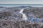 Backlit Trail to Moshup Beach through Dunes after Snowstorm, Martha's Vineyard, Aquinnah, MA