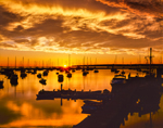 Sunrise over Boats in Vineyard Haven Harbor, Martha's Vineyard, Tisbury, MA