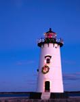 Edgartown Lighthouse with Holiday Lights, Martha's Vineyard, Edgartown, MA