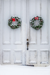 Holiday Wreaths on Old Church Doors in Winter, Trinity Baptist Church, Fitzwilliam, NH