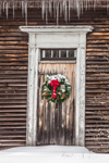 Wreath on Old Natural Wood Door in Winter, Royalston, MA