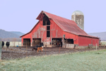 Big Red Barn with Cows in Front and Silo out Back, Tennessee Scenic Parkway, Grassy Cove, TN