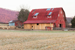 Red and Natural Wood Barn With Sheep in Pasture, Tennessee Scenic Parkway, Grassy Cove, TN