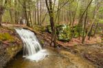 Lower Waterfalls on Gunn Brook near Rock Cliffs in Early Spring Freshet, Connecticut River Valley, Sunderand, MA