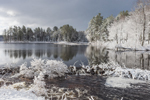 Dark Clouds over Beaver Dam on Lawrence Brook after Early Spring Snowfall, Royalston, MA