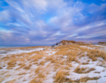 Cloudy Skies over Snow-covered Dunes at Crane Beach, North Shore, Ipswich, MA