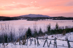 View of Mount Monadnock and Frozen Mountain Reservoir at Sunrise in Winter, Jaffrey, NH