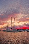 Dramatic Sunset over Boats in Cuttyhunk Pond, Cuttyhunk Island, Elizabeth Islands, Town of Gosnold, MA