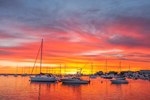 Dramatic Sunrise over Boats in Oak Bluffs Harbor, Martha's Vineyard, Oak Bluffs, MA