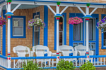 White Wicker Rockers on Porch of Gingerbread House, Martha's Vineyard, Oak Bluffs, MA