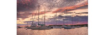 Sunset over Boats in Cuttyhunk Pond, Cuttyhunk Island, Elizabeth Islands, Town of Gosnold, MA
