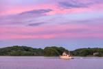 Colorful Sunset over Motor Cruiser at Point Judith Pond, Ram Island in Background, Narragansett, RI