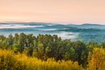 Ground Fog over Mountains and Forests in Early Morning Light, Huckle Hill Property, Bernardston, MA