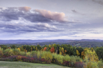 View of Mountains and Forests with Colorful Fall Foliage at Sunset from Huckle Hill, Bernardston, MA