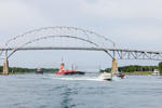 Tugboat, Barge, and Motor Boats near Bourne Bridge, Cape Cod Canal, Cape Cod, Bourne, MA