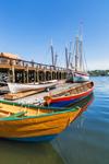 "Colorful Skiffs and the Schooner ""Ardelle"" Docked at Maritime Gloucester, Inner Harbor, Gloucester Harbor, Gloucester, MA"