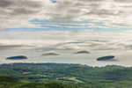 Porcupine Islands and Frenchman Bay Shrouded by Early Morning Fog, View from Cadillac Mountain, Acadia National Park, Bar Harbor, ME