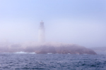 Moose Peak Lighthouse on Mistake Island in Fog, View from Mouth of Main Channel Way and Atlantic Ocean, Jonesport, ME