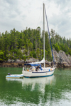 "Sailboat ""Seabiscuit"" Anchored in Bunker Cove near Cliffs on Great Spruce Island, Joneport, ME"