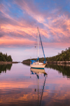 Sailboat at Sunset in Anchorage at Mud Hole Cove, Great Wass Island, Beals, ME