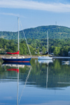 Sailboat Reflections in Early Morning Calm of Inner Blue Hill Harbor, Blue Hill, ME