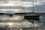 Early Morning Light and Dark Clouds over Boats in Boothbay Harbor, Boothbay Harbor, ME
